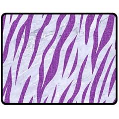 Skin3 White Marble & Purple Denim (r) Fleece Blanket (medium)