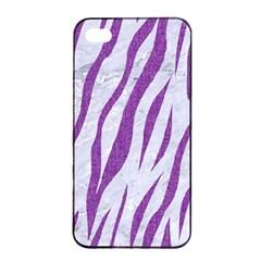 Skin3 White Marble & Purple Denim (r) Apple Iphone 4/4s Seamless Case (black) by trendistuff