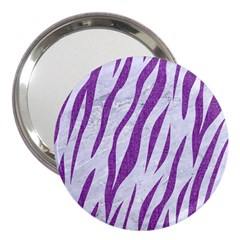 Skin3 White Marble & Purple Denim (r) 3  Handbag Mirrors