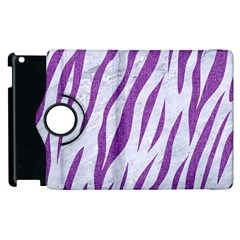 Skin3 White Marble & Purple Denim (r) Apple Ipad 2 Flip 360 Case