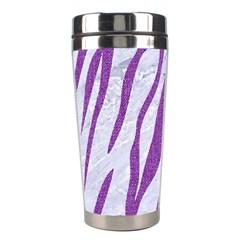 Skin3 White Marble & Purple Denim (r) Stainless Steel Travel Tumblers by trendistuff