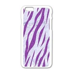 Skin3 White Marble & Purple Denim (r) Apple Iphone 6/6s White Enamel Case