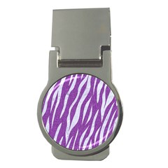 Skin3 White Marble & Purple Denim Money Clips (round)