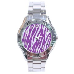 Skin3 White Marble & Purple Denim Stainless Steel Analogue Watch by trendistuff