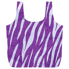 Skin3 White Marble & Purple Denim Full Print Recycle Bags (l)
