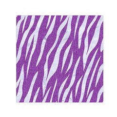 Skin3 White Marble & Purple Denim Small Satin Scarf (square)