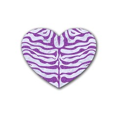 Skin2 White Marble & Purple Denim (r) Heart Coaster (4 Pack)