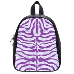 Skin2 White Marble & Purple Denim (r) School Bag (small)