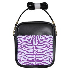 Skin2 White Marble & Purple Denim (r) Girls Sling Bags