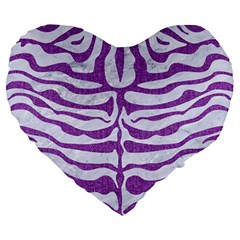 Skin2 White Marble & Purple Denim (r) Large 19  Premium Heart Shape Cushions