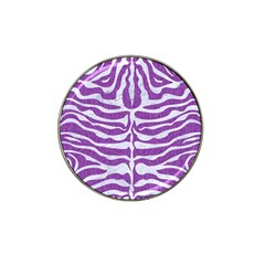 Skin2 White Marble & Purple Denim Hat Clip Ball Marker