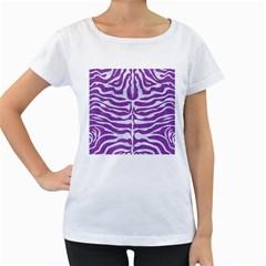 Skin2 White Marble & Purple Denim Women s Loose Fit T Shirt (white)