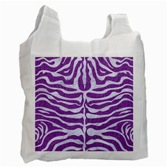 Skin2 White Marble & Purple Denim Recycle Bag (two Side)