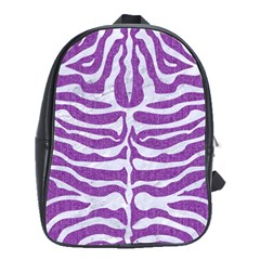Skin2 White Marble & Purple Denim School Bag (large)
