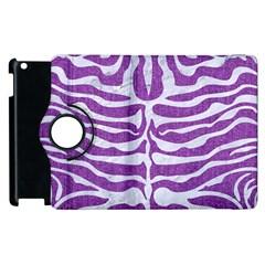 Skin2 White Marble & Purple Denim Apple Ipad 2 Flip 360 Case