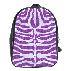 Skin2 White Marble & Purple Denim School Bag (xl) by trendistuff