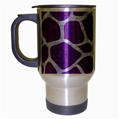 Skin1 White Marble & Purple Denim (r) Travel Mug (silver Gray)