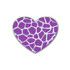 Skin1 White Marble & Purple Denim (r) Rubber Coaster (heart)