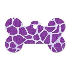 Skin1 White Marble & Purple Denim (r) Dog Tag Bone (one Side)