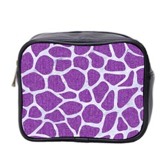 Skin1 White Marble & Purple Denim (r) Mini Toiletries Bag 2 Side