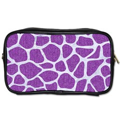 Skin1 White Marble & Purple Denim (r) Toiletries Bags