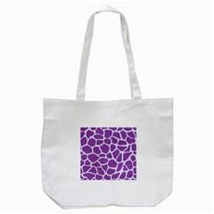 Skin1 White Marble & Purple Denim (r) Tote Bag (white)