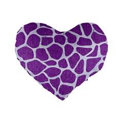 Skin1 White Marble & Purple Denim (r) Standard 16  Premium Flano Heart Shape Cushions by trendistuff