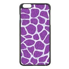 Skin1 White Marble & Purple Denim (r) Apple Iphone 6 Plus/6s Plus Black Enamel Case