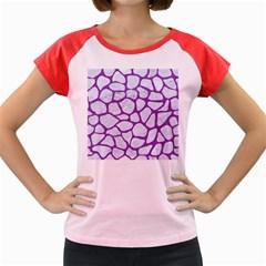 Skin1 White Marble & Purple Denim Women s Cap Sleeve T Shirt