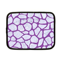 Skin1 White Marble & Purple Denim Netbook Case (small)
