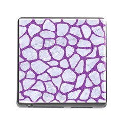 Skin1 White Marble & Purple Denim Memory Card Reader (square)