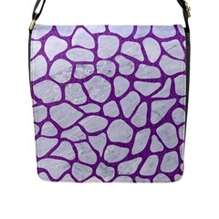 Skin1 White Marble & Purple Denim Flap Messenger Bag (l)