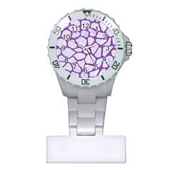 Skin1 White Marble & Purple Denim Plastic Nurses Watch