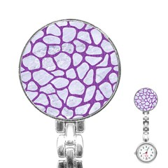 Skin1 White Marble & Purple Denim Stainless Steel Nurses Watch
