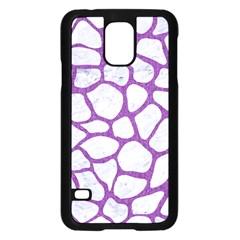 Skin1 White Marble & Purple Denim Samsung Galaxy S5 Case (black) by trendistuff