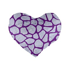 Skin1 White Marble & Purple Denim Standard 16  Premium Flano Heart Shape Cushions