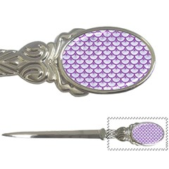 Scales3 White Marble & Purple Denim (r) Letter Openers