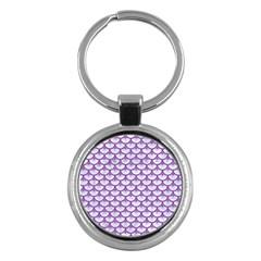 Scales3 White Marble & Purple Denim (r) Key Chains (round)