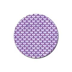 Scales3 White Marble & Purple Denim (r) Rubber Coaster (round)