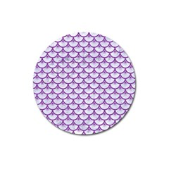 Scales3 White Marble & Purple Denim (r) Magnet 3  (round)