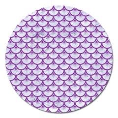 Scales3 White Marble & Purple Denim (r) Magnet 5  (round)