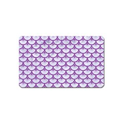 Scales3 White Marble & Purple Denim (r) Magnet (name Card)
