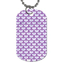 Scales3 White Marble & Purple Denim (r) Dog Tag (two Sides)