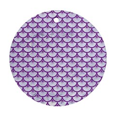 Scales3 White Marble & Purple Denim (r) Round Ornament (two Sides)