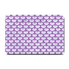 Scales3 White Marble & Purple Denim (r) Small Doormat
