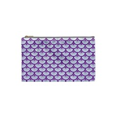 Scales3 White Marble & Purple Denim (r) Cosmetic Bag (small)