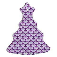 Scales3 White Marble & Purple Denim (r) Ornament (christmas Tree)