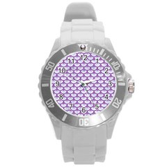Scales3 White Marble & Purple Denim (r) Round Plastic Sport Watch (l)