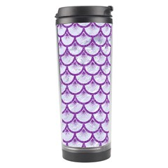 Scales3 White Marble & Purple Denim (r) Travel Tumbler