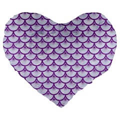 Scales3 White Marble & Purple Denim (r) Large 19  Premium Flano Heart Shape Cushions